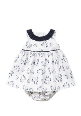 Disney Minnie Mouse Dress and Bloomers Set White/Navy 0-3 months