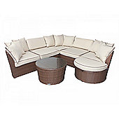 Valencia Corner Sofa Set in Chocolate Mix and Coffee Cream