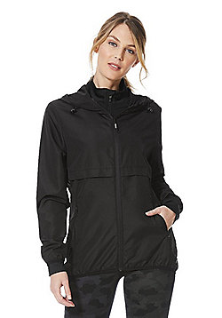 F&F Active Shower Resistant Windbreaker Running Jacket - Black