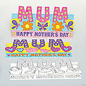 Mum' Pop-up Colour-in Cards for Children to Design Decorate and Give as Mothers Day Gift - Creative Craft Kit for Kids (Pack of 8)