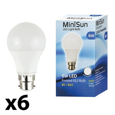 Pack of 6 Minisun BC B22 6W LED SMD GLS Bulbs in Cool White