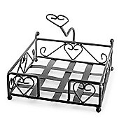 'Felicity' Brown Metal Napkin Holder with Heart Design
