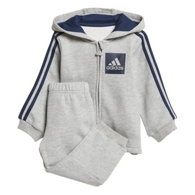 adidas 3-Stripes Sports Infant Kids Boys Tracksuit Set Grey - 6-9 Months