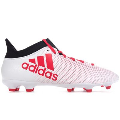 adidas X 17.3 Firm Ground Mens Football Boot White/Black/Red Cold Blooded - UK 8