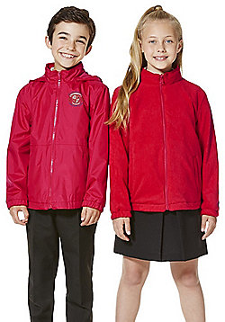 Unisex Embroidered Reversible School Fleece Jacket - Red