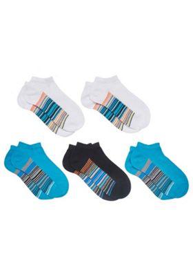 F&F 5 Pair Pack of Sole Stripe Trainer Socks Multi Child Shoe 3-5 1/2