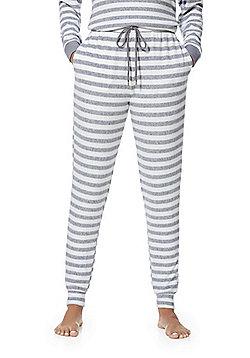 F&F Striped Fleece Lounge Pants - Grey & White
