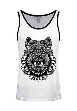 Unorthodox Wolf Mandala Men's White & Black Ringer Vest - White
