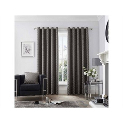 Curtina Islington Charcoal Eyelet Curtains - 66x72 Inches (168x183cm)