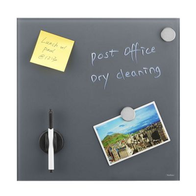 VonHaus Glass Magnetic Memo Board - Grey - Bulletin Board, Notice Board with FREE Accessories