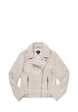 F&F Suedette Biker Jacket - Pink