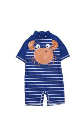 F&F Striped Crab Applique Sunsafe Surfsuit Blue 12-18 months