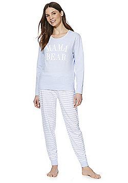 F&F Mama Bear Slogan Pyjamas - Blue