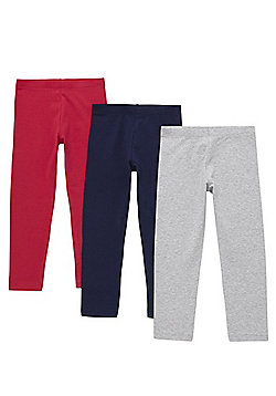 F&F 3 Pack of Plain Leggings with As New Technology - Multi