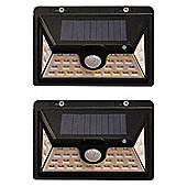 Set of 2 450 Lumens Solar Security PIR Light in Black with 34 LEDs