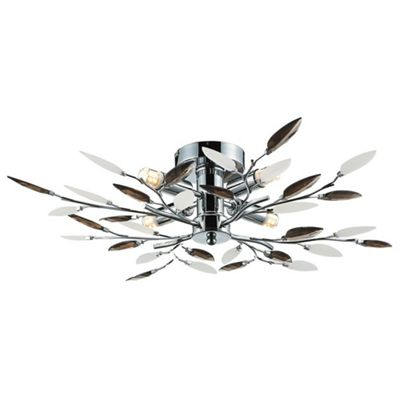 Modern Willow 4 Bulb Chrome Ceiling Light with Smoked Leaves