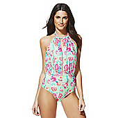 F&F Rose Print Cut-Out Detail Swimsuit - Pink & Green