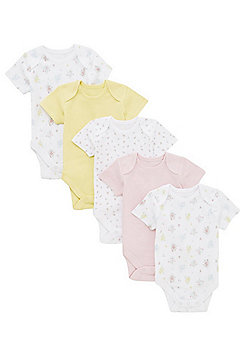 F&F 5 Pack of Floral Print and Plain Short Sleeve Bodysuits - Multi