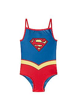 DC Comics Wonder Woman Supergirl Batman Girls Swim Suit Costume - Blue