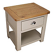 Aspen Painted Sage Grey Oak Lamp Table / 1 Drawer With Shelf