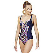 Zoggs Swimshapes Aztec Panel Body Shaping Swimsuit - Navy