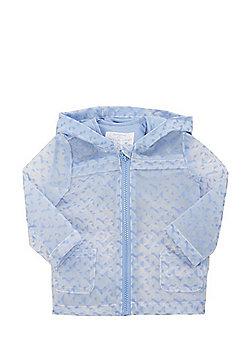 F&F Triangle Print Translucent Hooded Mac - Blue