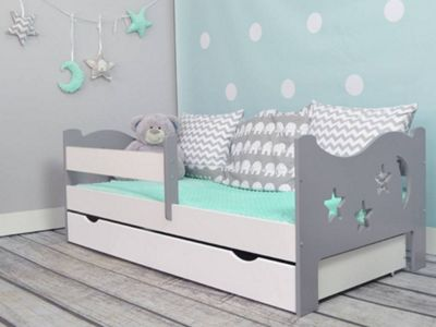 Camila Moon & Stars Toddler Bed Grey & White & Safety Foam Mattress+Drawer White