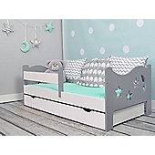 Camila Moon & Stars Toddler Bed Grey & White & Safety Foam Mattress+Drawer White