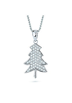 REAL Effect Rhodium Plated Sterling Silver White Cubic Zirconia Christmas Tree Charm Pendant - 16/18 inch