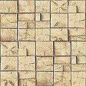 Muriva Square Wood Block Wallpaper - Natural - J84407
