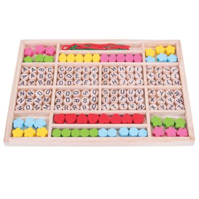 Bigjigs Toys Wooden Alphabet Bead Tray - Arts and Crafts