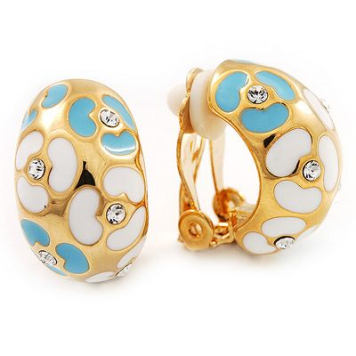 C-Shape Light Blue/White Floral Enamel Crystal Clip On Earrings In Gold Plated Metal - 2cm Length