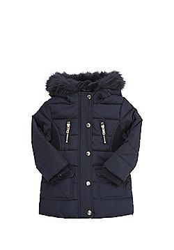 F&F Faux Fur Hooded Long Line Puffer Jacket - Navy