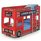 Happy Beds London Bus Wood Kids Themed Bunk Bed with 2 Orthopaedic Mattresses - Red - 3ft Single