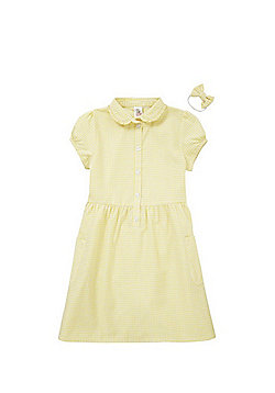 F&F School Ruffle Collar Gingham Dress with Bow Hair Band - Yellow & White