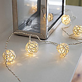 16 Warm White LED Rattan Ball Battery Fairy Lights