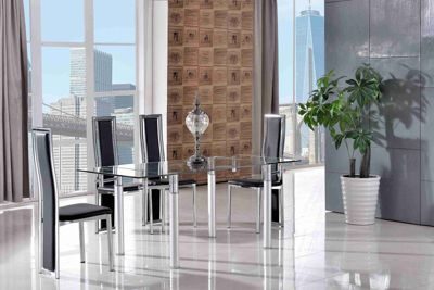Verona Glass 120 - 180 cm Dining Table with 6 Black Elsa Chairs