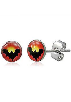 Urban Male Stud Earrings Black Bat Symbol In Stainless Steel 7mm