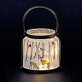 Lit Glass Jar with Reindeer Scene 28cm Warm White LEDs