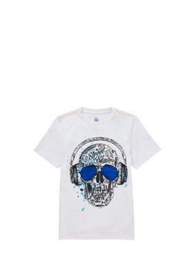 F&F Headphones Skull Print T-Shirt White Multi 5-6 years