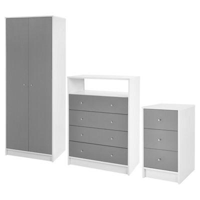 Tolke Grey Set (2 door wardrobe, media unit, bedside)