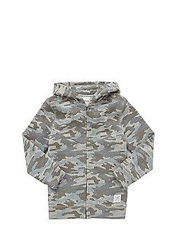 F&F Camo Print Zip-Through Hoodie - Grey