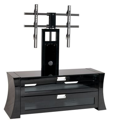 Gecko Curved High Gloss Black Cabinet with Bracket