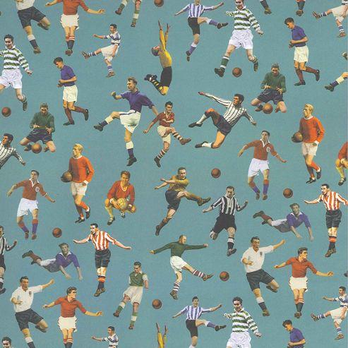 Gift Wrap - Blue Footballers