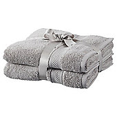 Tesco Egyptian Cotton 2 Pack Hand Towels Silver
