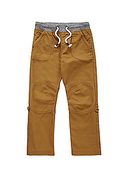 F&F Ribbed Waist Ripstop Trousers - Stone