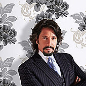 Designer Laurence Llewelyn-Bowen Cascada Floral Black/White Wallpaper