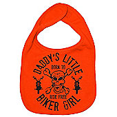 Dirty Fingers Daddy's little Biker Girl Baby Bib Orange