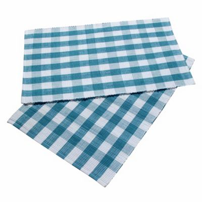 Homescapes Cotton Blue Block Check Pack of 2 Placemats