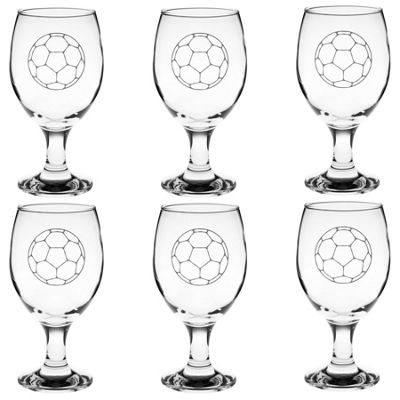 Rink Drink Stemmed Engraved Craft Beer / Ale Glasses - Football - Pack of 6